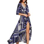 ROMWE Women's Bohemian Long Sleeve V neck Split Long Wrap Maxi Dress