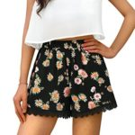 Allegra K Women Allover Printed Lace Trim Elastic Waist Shorts