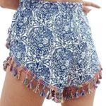 YUNY Women High Waisted Boho Tassel Shorts Beach Pants