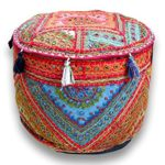 NANDNANDINI – beautiful Christmas Traditional Home Decorative Red Ottoman Handmade and Patchwork Foot Stool Floor Cushion, Bohemian ottoman ,Round ottoman , Size 23 X 13 Inches