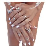 Shirley Vintage Silver Arrow Deer Head Turquoise Joint Knuckle Nail Midi Ring Set of 7 Rings