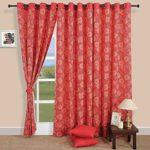 Modern Spiral Pattern Cotton Window Curtains-54 x 60 Inch- Set Of 2 -Orange and Gold Boho Lattice