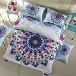 LELVA Bohemian Bedding Set Boho Style Bedding Duvet Cover Set Cotton Mandala Bedding Flat / Fitted Sheet Set 4pc (Full – Flat Sheet, 2)