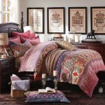 LELVA Bohemian Exotic Colorful Ethnic Style Bedding Sets, Cotton Boho Style Bedding Set, Boho Duvet Cover, Queen King Size 4pcs (King)