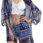 Womens Beach Cover Up Boho Chiffon Kimono Cardigan for Bikini Swimwear