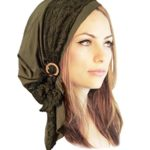Olive Green Boho Chic Pre-Tied Head Scarf Gorgeous Lace Wrap Coconut Buckles – 131