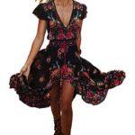 R.Vivimos Women Summer Deep V Neck Long Dresses