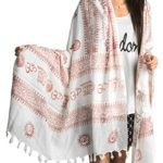Large Om Scarf Wrap Yoga Soft Cotton Hand Printed Boho Bohemian White Black Yellow