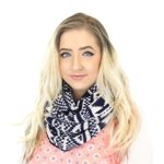Aztec Tribal Knit Infinity Loop Scarf in Cranberry, Camel, Navy, Black & Gray
