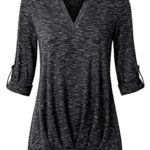 Messic Women's Split Neck 3/4 Roll-Up Sleeve Front Pleated Loose Knitted Tunic Shirt