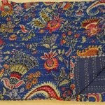 Tribal Asian Textiles 90″x108″ Indian Ethnic Floral Queen Size Quilts Hippie Decorative Ralli Boho Throw Blanket Bedding Kantha Work Bed Cover Quilts