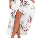 Hibluco Women's Asymmetrical Floral Ankle Length Long Open Side Beach Skirts