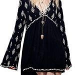 R.Vivimos® Women Long Sleeve Autumn V Neck Mini Short Dresses