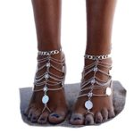 SUNSCSC 1 Pair Boho Vintage Silver Coin Blessing Symbol Tassel Anklets Foot Jewelry