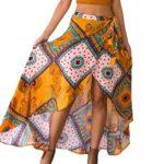Deargirl Print Asymmetrical Wrapped Maxi Skirt Beach Cover up Dress