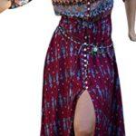 Evaliana Women Boho Folk Ethnic Summer Beach Evening Party Peasant Maxi Dress