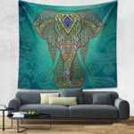 Geekercity Indian Bohemian Mandala Tapestry Wall Art Hippie Wall Hanging Bedspread Elephant Psychedelic Beach Throw Tablecloth Yoga Mat Outdoor Picnic Blanket Dorm Décor (Green, Small/60″ x 50″)