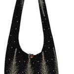 Peacock Tail Black Bohemian Hippie Hobo Boho Big Crossbody Shoulder Bag 39″