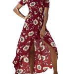 Women's Summer Boho Off The Shoulder Long Maxi Casual Dresses Split