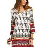 Floerns Women's Bohemian Neck Tie Floral Print Ethnic Style Shift Dress