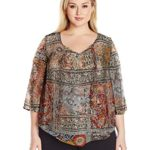 OneWorld Women's Plus Size 3/4 Sleeve Printed Woven Popover Blouse with Fringe Tassels
