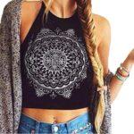 Perman Womens Mandala Print Sleeveless Halterneck Tank Crop Tops Vest Blouse