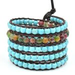 Here Fashion Turquoise on Wrap Leather Bracelets,5 Wraps,6mm/bead