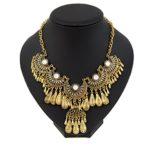 Miraculous Garden Womens Vintage Antique Gold Ethnic Tribal Boho Beads Fringe Statement Necklace Bohemia Style