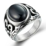 Boho Jewelry Men's Vintage Stainless Steel Black Oval Agate Ring Classic Band