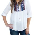 LOSRLY Women Floral Embroidered 3 4 Sleeve String Neck Peasant Blouse and Tops