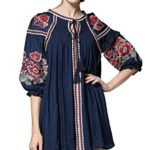 Shineflow Womens Bohemian 3/4 Sleeve Floral Embroidered Peasant Dressy Tops Blouses Pleated Shirt Mini Dress Tunic Navy Blue