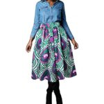 Uideazone Women African Floral High Waisted Skirts Knee Length Flare Skirts with Pockets