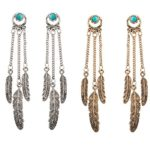 Miraculous Garden Womens 2 Pairs Vintage Antique Silver/Gold Alloy Long Ethnic Tribal Boho Fringe Turquoise Drop Dangle Earrings Set Bohemia Style (2 pairs set)