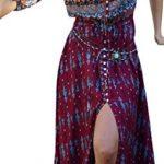 R.Vivimos Women Summer Button Up Floral Print Split Beach Maxi Dresses
