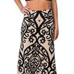 JomeDesign Women's Summer High Waist Damask Printed Casual Long Maxi Skirt