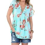 Ezcosplay Women's Floral Print Short Sleeve V Neck Lace Up Front Tops Blouse