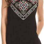 Sakkas Elita Sleeveless Tank Top Batik Aztec Embroidered Shirt Blouse
