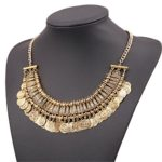 Lanue Chunky Punk Tribal Retro Antique Silver Gold Coins Plated Alloy Bib Choker Necklace