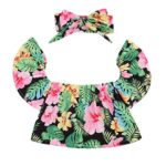 2017 Baby Girls Off Shoulder Boho Print Floral Blouse Top + Bandage Headband Outfit Set