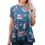 ZXZY Women Boho Short Sleeve Cross Tie Back Floral Print Shirt Tops Blouse Tee