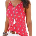 Women Sleeveless Casual Blouse Print Sleeveless Spaghetti Strap Tank Tops Camisole Vest