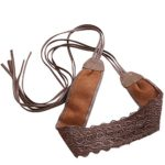 iShine Women's Bowknot Faux Leather Wrap Around Self Tie Cinch Waistband Boho Belt