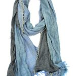 Red Pomegranate Unisex Adult Ultra Soft Turkish Cotton and Viscose Blend All Season Degraded Scarf with Fringe Details, Blue
