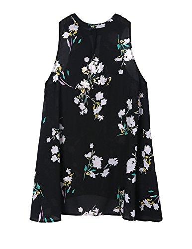 hodoyi Women Boho Floral Print Chiffon Sleeveless Longline Tank Tops Shirts
