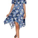 Elesol Women's Boho Spaghetti Straps Asymmetrical Floral Print Party Casual Dress