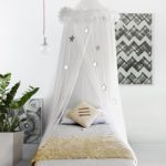 Boho & Beach Bed Canopy Mosquito Net Curtains with Feathers and Stars for Girls Toddlers and Teens, White