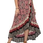 Milumia Women's Bohemian Floral Print Wrap Skirt Summer Long Maxi Skirt
