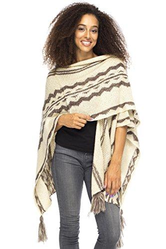Back From Bali Womens Knit Ruana Blanket Scarf Wrap Shawl Poncho Boho Tribal Print