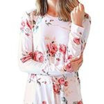 SimpleFun Women's Floral Printed Blouse Casual Loose Tops T-Shirts