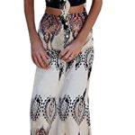 GAMISOTE Women's Crop Top Maxi Skirt 2 Piece Boho Printed Off Shoulder Beach Dress